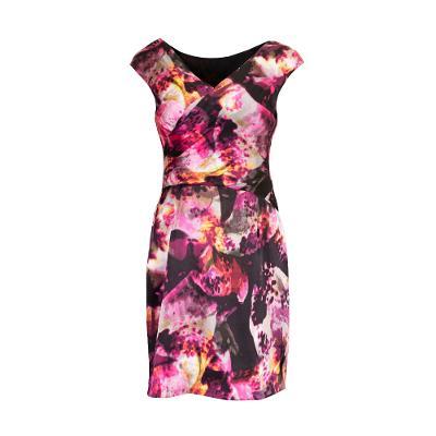 floral pattern v-neck midi dress multi
